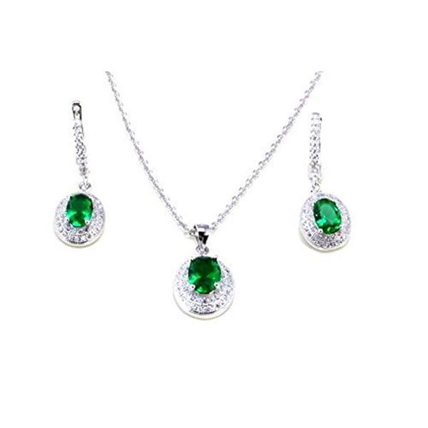 a4bc8f8da Simulated Diamond & Emerald Pendant & Earring Set Online Sale in UK ...