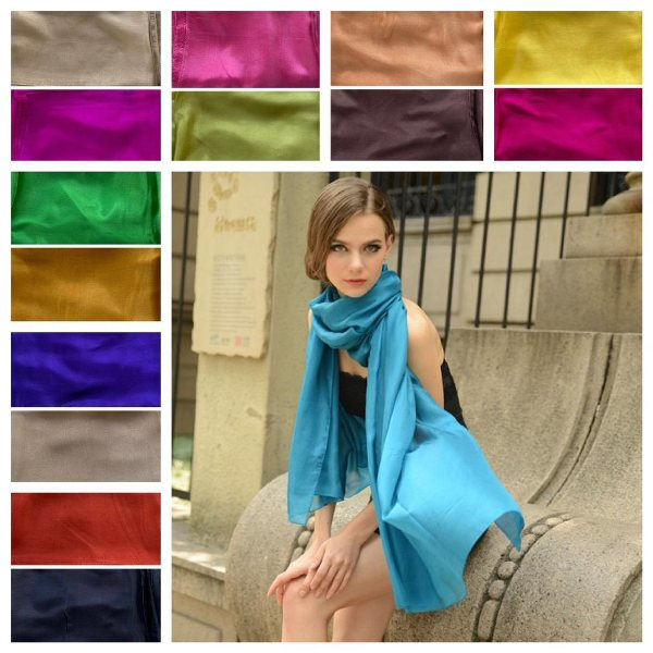 Large Silk Scarves in 15 vibrant colours